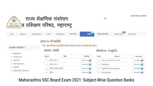 Maharashtra SSC Board Exam 2021 Subject-Wise Question Banks